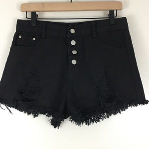 Shein Button Fly Distressed Cut Off Denim Shorts